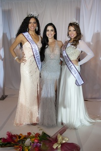In the photograph (left to right) Newly crowned Miss California Latina 2013 Karina Heredia from Chula Vista elegantly posed next to outgoing Miss California Latina 2012-2013 Vianey Arana and the new Miss Teen California Latina Sulema Barajas from San Diego.