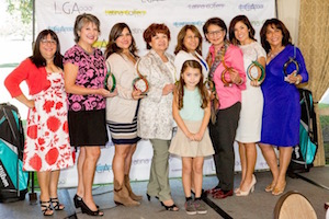 Pictured above (left to right): Latina Golfers Association founder Azucena Maldonado with awardees Cindy Vasquez, Agency Sales Leader Los Angeles Metro East Territory at State Farm; Corinne Tapia, V.P. Asset Management at Vanir Development Company; Helen Romero Shaw, Public Affairs Manager at Southern California Gas Company; Gilda Pettit, V.P. Credit Products Officer at Bank of the West; Mercedes Narez, Physician with Kaiser Permanente; Victoria Gonzalez, Member of the El Monte City Council;  and Leticia Chacon, Executive Director of Human Services Association.