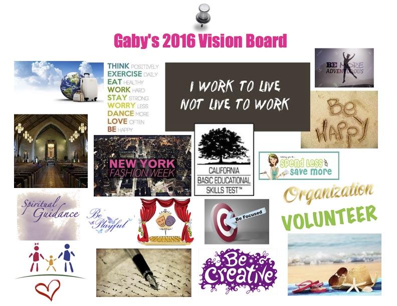 2016 Vision Board, Gabriela Sandoval