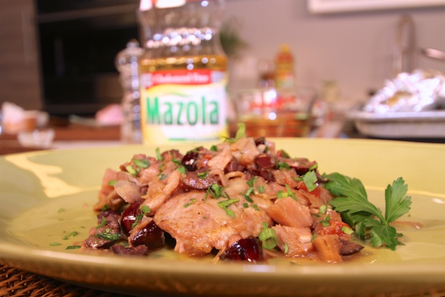 "A Treat from Chef James ""Chicken with Artichokes and Olives in a White Wine Sauce"""